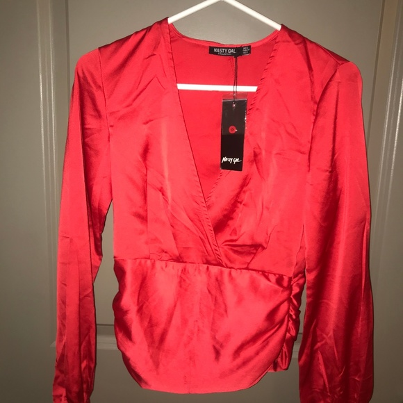 Nasty Gal Tops - Nasty Gal Red Long Sleeve Blouse